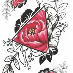 Tatuaj temporar -Bujori- 17x10cm