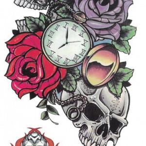 Tatuaj temporar -skulls and roses- 17x10cm