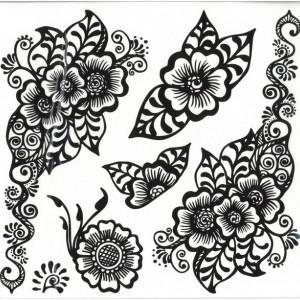 Tatuaj temporar cu flori - 24X22cm