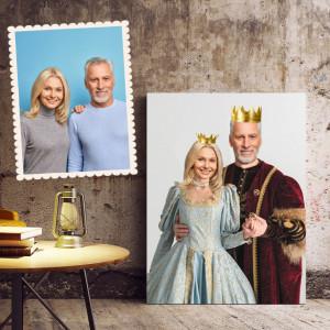 Portret personalizat cu poza ta - Cuplu regal