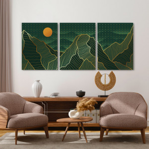 Set tablouri canvas - Abstract dots golden landscape
