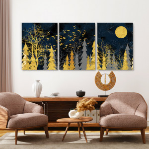 Set tablouri canvas - Golden forest