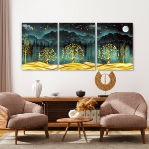 Set tablouri canvas - Night in the golden forest
