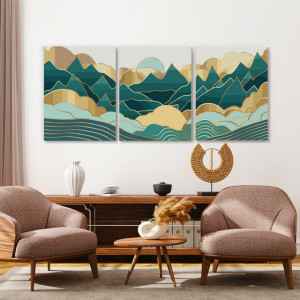 Set tablouri canvas - Pastel green and golden mountains