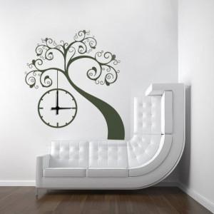 Sticker De Perete Copacel Stilizat Cu Ceas