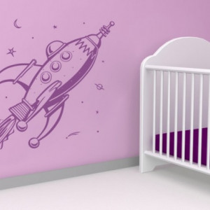 Sticker De Perete Decor Pentru Copii Racheta
