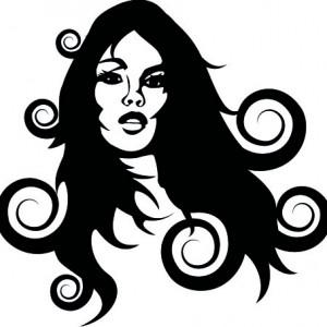 Sticker De Perete Fata Cu Parul Ondulat