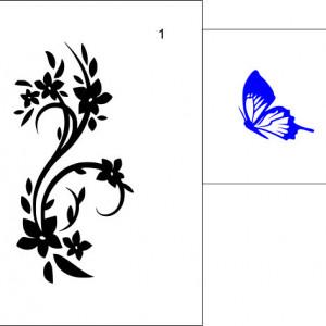 Sticker De Perete Flori Si Fluturi 01