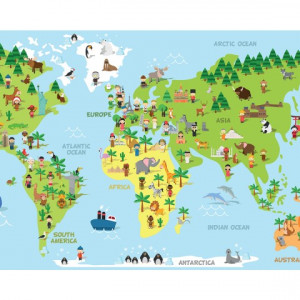 Sticker De Perete Harta Lumii Pentru Copii