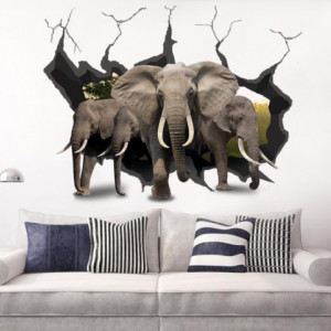 Sticker de Perete Vin Elefantii 3D