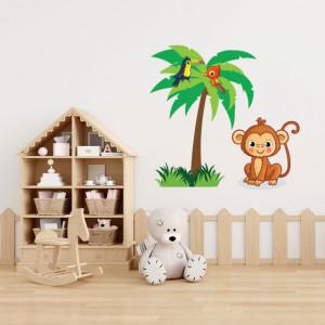 Sticker Maimutica si palmier