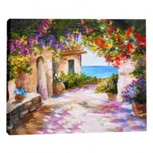 Tablou canvas efect pictura - Bolta cu flori