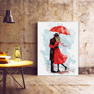 Tablou Canvas Kiss Under a Red Umbrella