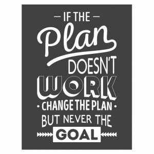 Tablou motivational - If the plan doesn't work (vintage grey)