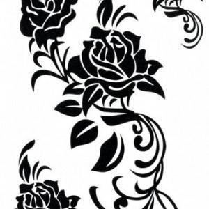 Tatuaj temporar flori-trandafiri-tribali- 17x10cm