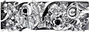 Tatuaj temporar trandafiri-schelet 15x40cm