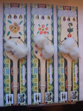 Slika Preslica od drveta, sa mini vretenom i vunicom