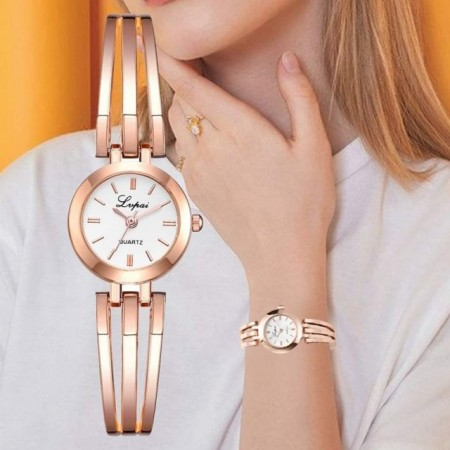 Elegantan ženski ručni sat - Rose white gold/ Rose gold white/ Rose gold black