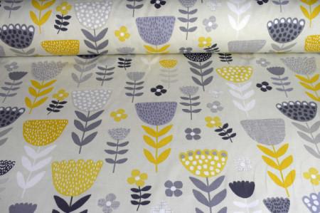 Dekorativna tkanina zuto sivo