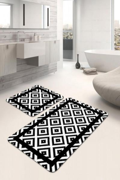 crno bela prostirka za kupatilo