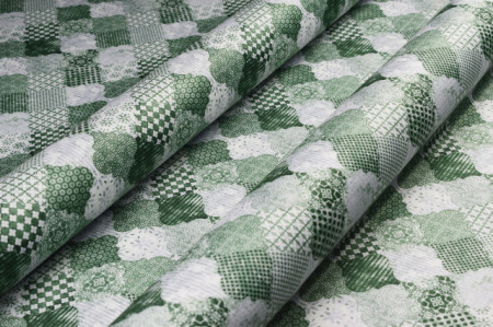 zeleni štampani mebl štof