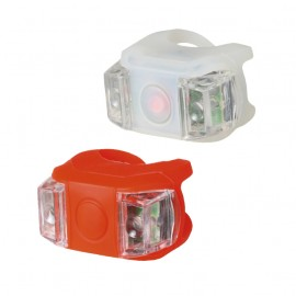 Slika Prednje i zadnje silikonsko svetlo za bicikl sa LED diodama BV 11 (crvena/bela)