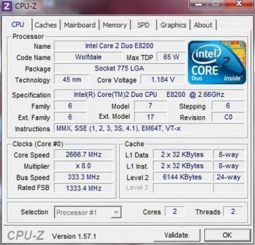 Intel Core™2 Duo E8200 2.66GHz 6MB LGA775 BOX