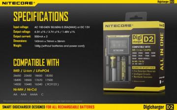 Nitecore Digicharger D2 (Inteligentni digitalni punjač za sve tipove baterija)