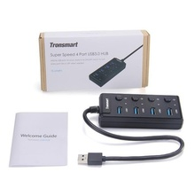 Tronsmart TS-UH4P1 USB 3.0 (5Gbps) Hi-Speed External 4-Port Hub with Separate On/Off Switch