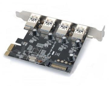 ULANSON 4 Ports USB 3.0 PCI-E Express Card (SATA Powered)