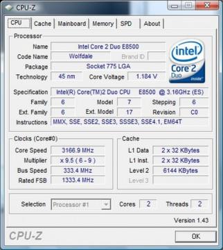 Intel Core™2 Duo E8500 3.16GHz 6MB LGA775 BOX