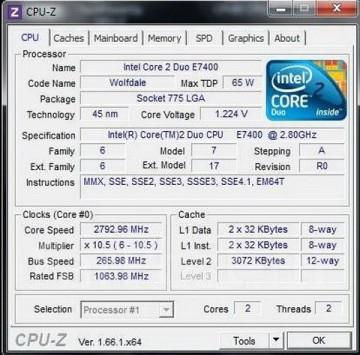 Intel Core™2 Duo E7400 2.8GHz 3MB LGA775 BOX