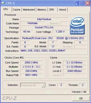 Intel Pentium Dual-Core E5200 2.5GHz 2MB LGA775 BOX