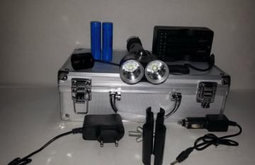 POLICE CREE XQ-Q2822A 2xT6 LED Baterijska Lampa 30000W (lovački set)