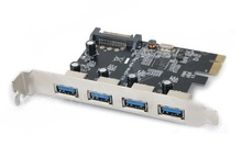 ULANSON 4 Ports USB 3.0 PCI-E Express Card (SATA Powered)