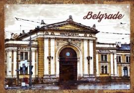Slika Glavna Železnička stanica retro-tabla