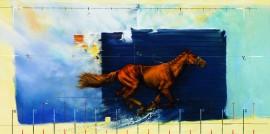 Slika Konj u galopu, uramljena slika 50x100cm