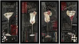Slika Martini, Pina Colada, Margarita, Cosmopolitan, komplet uramljenih slika