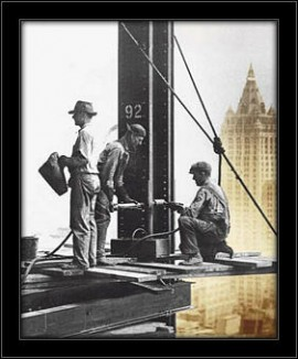 Slika Radnici visoko na gredi 2, uramljena slika