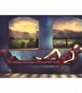 Sensual women in red dress, uramljena slika 45x55cm