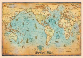 World Map, uramljena slika 70x100cm