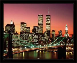 Slika Bruklinski most noću, uramljena slika