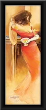 Dama u crvenoj haljini, uramljena slika