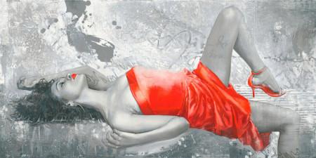 Slika Lady in red, uramljena slika 50x100cm