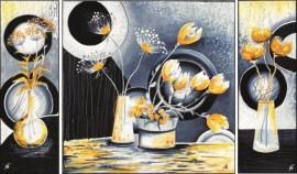 Žuto cveće triptih, uramljena slika