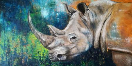 Slika Rhino, uramljena slika 50x100 cm