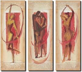 Triptih crvenih figura, 3 slike na medijapanu