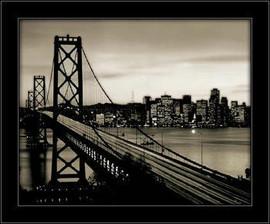 Slika Crno beli Bruklinski most, uramljena slika