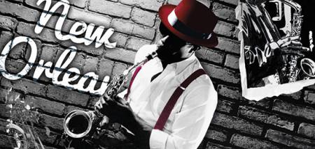Slika Nick Osten Jazz,, uramljena slika 50x100cm