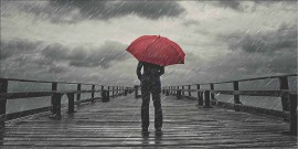 Slika Rain man with red umbrella, uramljena slika 50x100cm
